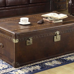 """Thornton Lift Top Leather Steamer Trunk w/ Storage In Toblerone Leather - The Thornton """"Ready To Ship"""" leather antique steamer trunk with storage measures W45"""" x D28"""" x H18"""" and features a sturdy hardwood frame, rich """"Toblerone"""" leather upholstery, lift-top storage area and beautiful hand-hammered nailhead trim."""