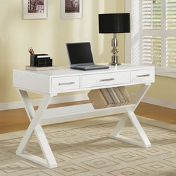 Coaster - White Casual Desk - Office desk available in black or white with three drawers. Complete with bookshelf.