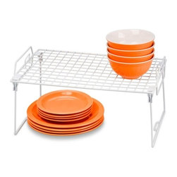 Set Of 2 - Kitchen Organizer Rack- 18X12In - Honey-Can-Do KCHZ01868 Set of 2 Lock and Link Stackable Cabinet Shelf, White.  The slim, space-saving design is great for creating extra storage space in cabinets, pantries, or closets.  Made with a durable steel frame and PE coating, it's sturdy, easy to clean, and will last for years.