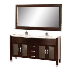 Wyndham Collection - 63 in. Double Sink Bathroom Vanity Set - Includes two sinks, white man-made stone top, matching mirror, drain and P-traps for easy assembly. Faucets not included. White integral sinks. Unique and striking contemporary design. Four doors and three drawers. Fully extending side-mount drawer slides. Deep doweled drawers. Doors with fully framed glass inserts and back paneling. Soft-close concealed door hinges. Single-hole faucet mount. Metal hardware with brushed chrome finish. Plenty of storage space. Brushed steel leg accents. Practical floor-standing design. Twelve-stage wood preparation, sanding, painting and finishing process. Highly water-resistant low V.O.C. sealed finish. Pre-drilled for single-hole faucet. Top thickness: 0.75 in.. Warranty: Two years limited. Made from environmentally friendly, zero emissions solid oak hardwood. Espresso finish. Minimal assembly required. Door: 11.75 in. W. Drawer: 11.75 in. W. Mirror shelf: 5 in. deep. Mirror: 63 in. W x 32 in. H (58 lbs.). Vanity: 63 in. W x 22 in. D x 33.5 in. H (150 lbs.). Handling Instructions. Installation Instructions - Vanity