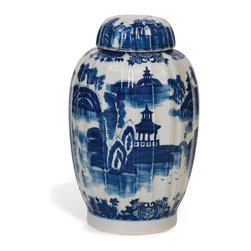 Kathy Kuo Home - Summer Palace Chinese Hand Painted Blue White Ginger Jar - This exquisite hand-painted piece is rendered in classic Ming style — the perfect addition to your blue-and-white collection. It looks serenely beautiful displayed on its own or filled with fresh blooms.