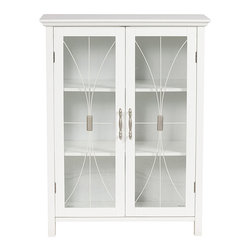 None - Veranda Bay White Floor Cabinet - This elegant white wooden floor cabinet is constructed of durable wood and Birch veneer, and features tempered-glass doors with satin nickel handles. This pretty cabinet would make a great addition to both traditional and modern decor.
