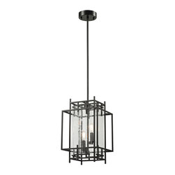Elk Lighting - Elk Lighting Intersections Collection 2 Light Pendant In Oil Rubbed Bronze - 142 - 2 Light Pendant In Oil Rubbed Bronze - 14202/2 in the Intersections collection by Elk Lighting The Intersections collection is constructed of overlapping pieces of iron finished in Oil Rubbed Bronze.  Seedy glass panels are clasped and offset, allowing reveals at the edges and enhancing its geometric style.    Pendant (1)