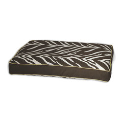 ez living home - Zebra Memory Foam Topper Pillow Bed Brown - Your old furry friend may not be quite the wild thing he used to be, but don't tell him that. Just get him this comfy memory foam topper pillow bed covered with a bold, exotic zebra print. The orthopedic foam will ease his tired joints as he dreams about chasing that zebra across the savanna. The brown and white print is reversible, the better to match your pet's light or dark fur as well as your living room.