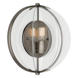Robert Abbey - Latitude Wall Sconce - When you want pure light, this striking contemporary wall sconce, with its glass shade panels, gives a sense of old world meets new. The filament bulb reflects light from the aged brass plate and casts a warm inviting light.