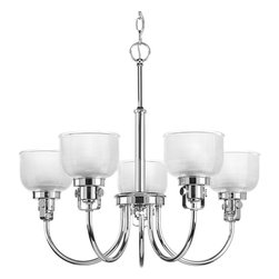 Progress Lighting - Progress Lighting P4689-15 Archie Five-Light Polished Chrome Chandelier Clear Ha - Archie Collection five-light chandelier is a standout in any room! Provide a fun and fashionable way to light your home with finely crafted strap and knob details, clear double prismatic glass, and plated Polished Chrome finish.The authentic, prismatic style glass shade diffuses light to provide functional and stylish illumination. Available coordinating fixtures in this collection include wall and ceiling styles.