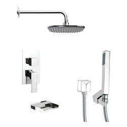 Remer - Square Tub and Shower Faucet with Hand Shower - Single function tub and shower faucet.