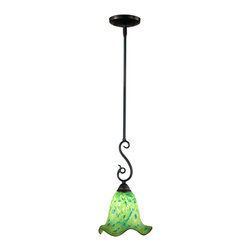 Dale Tiffany - Dale Tiffany AH11252CB Signature 1 Light Mini Pendants in Coffee Black - Our Green Apple pendant will add a crisp, refreshing touch of color to your home. The ruffled Favrile art glass shade is a lovely dark green in color, which lightens to lighter green towards the bottom. Blue accents run throughout the shade, while an amber ribbon circles the bottom, adding extra color and visual interest. The pendant hangs from a cast metal canopy, support tube and flowing S hook, all finished in a handsome coffee black. Perfect for a breakfast bar or kitchen island, this pendant will provide your family with years of beautiful service.