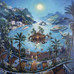 Murals Your Way - Island Parking Wall Art - Painted by Michael  Young, Island Parking wall mural from Murals Your Way will add a distinctive touch to any room