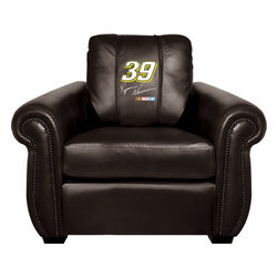 Dreamseat Inc. - Ryan Newman #39 NASCAR Chesapeake Black Leather Arm Chair - Check out this Awesome Arm Chair. It's the ultimate in traditional styled home leather furniture, and it's one of the coolest things we've ever seen. This is unbelievably comfortable - once you're in it, you won't want to get up. Features a zip-in-zip-out logo panel embroidered with 70,000 stitches. Converts from a solid color to custom-logo furniture in seconds - perfect for a shared or multi-purpose room. Root for several teams? Simply swap the panels out when the seasons change. This is a true statement piece that is perfect for your Man Cave, Game Room, basement or garage.