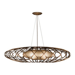 Fine Art Lamps - Entourage Pendant, 789040ST - Illuminate your space with something truly unique. Intricate metalwork in a rich bourbon finish encloses an inner shade of handblown glass — the perfect pendant for your favorite room.