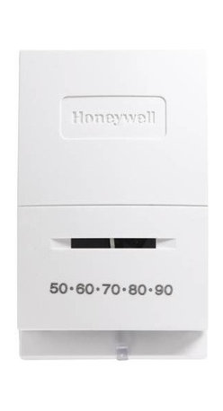 Honeywell - Honeywell T-Stat Heat Only Snap Action - Honeywell -- heat only thermostat for control of single stage low voltage heating systems. Vented cover for improved temperature sensing. Coiled bimetal element operates mercury switch. Straight in wiring capability. Heat: 40 f to 90 f, cool: 50 f to 99 f temperature range. White. Eco Source Exclusive. Min. Order: 1 EA
