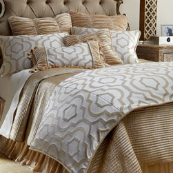 "Horchow - Standard Channel-Quilted Gold Sham - Enrich your bed with the texture and dimension of ""Constantine"" bed linens from Isabella Collection by Kathy Fielder. Geometric and ruched velvet linens are made in the USA of imported polyester, silk/rayon velvet, and polyester/cotton fabrics. Dry cl..."