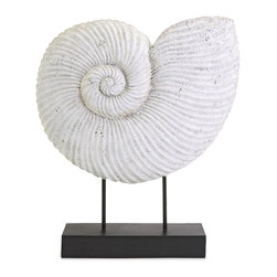 Ramsey Seashell on Stand - This stunning shell sculpture on a stand shows off the spiral pattern beautifully.