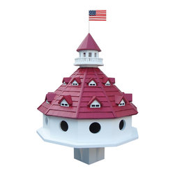 Home Bazaar - Hotel California Purple Martin Birdhouse, White with Red Roof - Welcome multiple purple martins to your garden with this 10-room birdhouse. Inspired by the iconic Del Coronado Hotel in San Diego, this luxurious birdhouse is ideal for a yard with both open fields and water and should stand 12 to 14 feet high. You can enjoy its beautiful design with a patriotic touch while your winged friends enjoy their palatial home.
