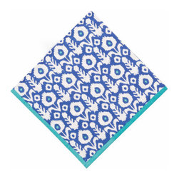 Origin Crafts - Ikat ultra marine napkins (set of 4) - Ikat Ultra Marine Napkins (Set of 4) The print of a thousand compliments... our new Ikat pattern is hand block printed with vibrant blues, perfect for brightening up a fall dinner party. 100% cotton . Machine wash cold, tumble dry low, warm iron as needed. Made in India. Dimensions (in):20x20 By