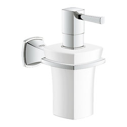 Grohe - Grohe 40627000 Chrome Grandera Series Soap Dispenser - Grohe Grandera 40627 000. This wall-mounted soap/lotion dispenser is designed with a frosted glass construction, and has StarLight Chrome trim. This model comes with all of the necessary mounting hardware and instructions.