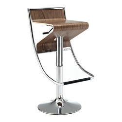 "LexMod - Zig-Zag Bar Stool in Walnut - Zig-Zag Bar Stool in Walnut - With its visually compelling design and sturdy steel frame, the Zig-Zag Bar Stool is in a category of its own. Enjoy the diametric curvature of the walnut plywood seat, as you comfortably position yourself using the convenient footrest below. The seat adjusts using a hydraulic piston to accommodate both bar or counter height tables. Easily exit Zig-Zag by swiveling away from the countertop instead of the more tedious method of pushing the chair back and away. Perfect for entertaining guests at home, or for stylish seating in bars and other commercial areas. Set Includes: One - Zig-Zag Height Adjustable Bar Stool in Natural Suitable for either home or commercial use, Modern and contemporary design, Fits most bars and countertops, Chromed Steel Frame and Bas, Plywood Seat with Attractive Wood Veneer, Hydraulic Adjustable Height, 360 Degree Swivel with footrest Overall Product Dimensions: 19.5""L x 15""W x 31 - 35.5""H - Mid Century Modern Furniture."