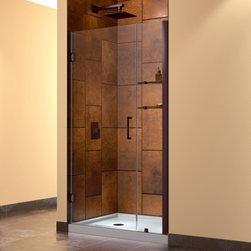 "DreamLine - DreamLine SHDR-20367210CS-06 Unidoor Shower Door - DreamLine Unidoor 36 to 37"" Frameless Hinged Shower Door, Clear 3/8"" Glass Door, Oil Rubbed Bronze Finish"