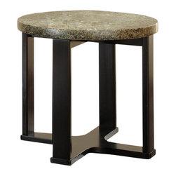 Steve Silver Company - Steve Silver Company Gabriel Green Granite Top End Table with Multi-Step Black B - Steve Silver Company - End Tables - GB200E - Round marble veneer sits atop a multi-step dark wood base.