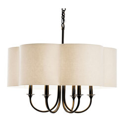 Arteriors - Rittenhouse Chandelier, 89418 - Distinctive 6-light steel chandelier in antique bronze finish has sweeping arched arms topped with an eggshell colored linen scalloped edge fabric shade with taupe sheer lining.