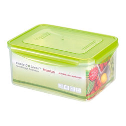 Kinetic - 108 oz. Plastic Food Storage Container w Silicone Sealed Lid - Kinetic Go Green Premium. 108 oz. Rectangle storage container. Silicone sealed locking lids. BPA-free plastic food storage. The Kinetic preservation technology helps food stay fresh up to three times longer for maximum freshness and superior spoilage prevention.. Keeps your foods fresher up to 3 times longer than conventional plastic food storage. Airtight and watertight silicone seal. Refrigerator and freezer-safe. Microwave-safe without the lids. Top rack dishwasher-safe. Clear body with green lid