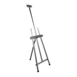 Martin Universal - Martin Universal 105 in. Ambiente Aluminum Artist Easel - 92-20503 - Shop for Art Easels from Hayneedle.com! The Martin Universal 105 in. Ambiente Aluminum Artist Easel brings the convenience of lightweight portable equipment into the studios of large-canvas painters. Equipped to hold canvas up to 50 inches vertical size but weighing only 9 pounds the Ambiente has both flexibility and strength. Fully adjustable back legs behind the A-frame construction extend to support large heavy canvas at almost any angle. A full-size canvas can be slid up to paint the bottom and down to paint the top. It also comes with foot pads for floor stability and protection. Folds easily for storage and transport.