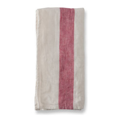 The Linen Works - Raspberry Stripe Arles Linen Napkins, Set of 8 - Introducing Arles.  Relaxed, vintage-inspired, perfect for informal gatherings and alfresco dining.  Matching linen placemats, tablecloth and tea towels are also available.