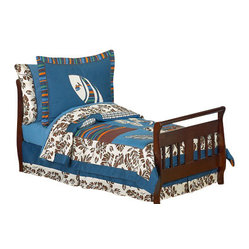 Surf Blue & Brown Toddler Bedding Set (5 Pc.)