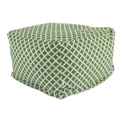 Outdoor Sage Bamboo Large Ottoman