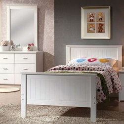 Acme Furniture - Bungalow White Finished Youth 5 Piece Twin Bedroom Set - 30025T - Set includes Twin Bed, Dresser, Mirror, Nightstand and Chest