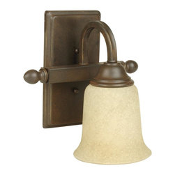 Craftmade - Madison 1 Light Bath Bar in Aged Bronze - Bulb Type: A-Type. Max Watt: 1x100W. Glass Finish: Tea-Stained. Length: 9.25'. Extension: 7.5 in.