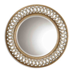 Uttermost - Uttermost Entwined Antique Gold Mirror 14028 B - This unique, open fret frame is finished in antique silver and gold leaf over a mahogany undercoat.