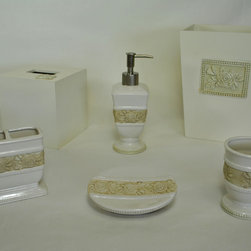 Sherry Kline - Sherry Kline Winchester Bath Accessory 6-piece Set - Give your bathroom a complete and elegant look with this six-piece bath accessory set. Featuring a beige floral design on an off-white background,this set includes all the accessories you will need,from the tissue holder to the soap dish.