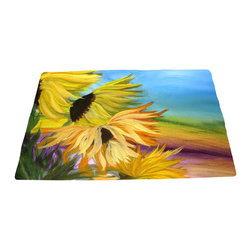 xmarc - Garden Area Plush Area Rugs From Original Art, Sunflower Field, 48 X 30 - Garden area plush area rugs from original art. Tree frogs, dragonflies, flowers, lady bug, butterflies.