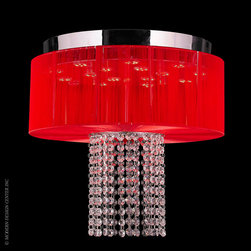 Worldwide Lighting Alice Flush Mount W33954C16-RD - Worldwide Lighting Alice Collection 6 Light Chrome Finish and Clear Crystal LED Flush Mount Ceiling Light with Red String Shade