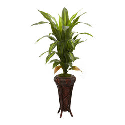 """Nearly Natural - 57"""" Dracaena with Stand Silk Plant (Real Touch) - Stately is the word that springs to mind with this large 57"""" Dracaena silk plant. With its cascading leaves gently rising up and out, it definitely commands attention. Standing tall nearly five feet in height, it makes an ideal room accent, corner piece, or entryway accompaniment, and looks great in both the home and office. Comes with a decorative planter stand. Height: 57 In.; Width: 30 In.; Depth: 33 In.; Pot Size: H: 21.5 In. W: 12 In. D: 12 In."""