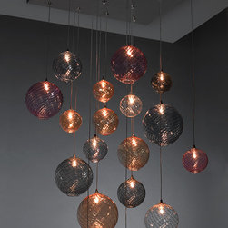 GLOBE Chandelier - Globe Chandelier. Shown in mixed sizes and colors: clear, pink, blue, grey and champagne. Stainless steel canopy.