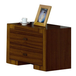 Beverly Hills Furniture - Alpha Night Stand (Teak) - Finish: TeakPictured in Teak finish. Teak veneer. Two drawers for storage. Factory built casegoods. Full extension ball-bearing tracks for all drawers. Brushed nickel handles. Thick wooden frame for sturdy yet sleek look. 18 in. W x 24 in. L x 20 in. HCrafted from carefully selected solids and teak veneers, the Alpha Bedroom offers excellent workmanship in a contemporary package.  Fully finished at the factory with full extension, ball-bearing tracks that offer smooth, everyday use.  The handle trims brushed nickel to complete the contemporary look for your bedroom.