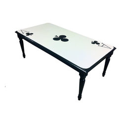 """ecofirstart - Ace of Clubs Table - Give your game room a whimsical boost with this upcycled table. This reclaimed table has been painted like one of the huge playing cards in """"Alice in Wonderland,"""" and can be custom-made to feature your lucky card!"""