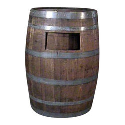"""Master Garden Products - Wine Barrel Waste Receptacle, Lacquer finished, 26""""W x 14""""D x 35""""H - Made from environmentally friendly recycled wine barrels, this extremely compact waste receptacle can save you an ample amount of space by simply setting it up against a wall or any kind of existing structure. It can hold a standard 10 1/4 gallons trash can or a 15 7/8 gallon slim trash can. It is also designed to line a 20 gallon garbage bag without using a can. Convenient 6"""" x 7"""" self closing push door at the top of the barrel with stainless steel spring hinges. Optional caster for mobility and lacquer finished to enhance its appearance as well as for added protection."""