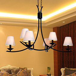 ceiling lights--lightsueprdeal.com - 60W Modern Chandelier with 6 Lights and Fabric Shade