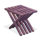 GloDea - Stool X30, Purple Berry - The Stool X30 is attractive, functional, durable, eco friendly and 100% made in the USA! This sturdy sitting stool arrives partially assembled at your home needing only a final touch to be ready for use! Conceived by the Brazilian designer Ignacio Santos, the Stool X30 is crafted from Eco Friendly Premium Yellow Pine wood from Alabama, stainless steel and built to last a life time if well taken care of. The Stool X30 is tall and wide which makes it perfect  for gardening, creating extra sits spots during the weekend barbecue or to simply play the guitar with your friends. You can also use it indoors to sit in your closet, in the kitchen to reach those top shelfs and for the kids in the bathroom to brush their teeth! Such a fun and useful piece of furniture! Our Stool X30 is finished with a semi-transparent stain and sealant mixture that protect it not only against humidity but also from UV rays and direct sun exposure. This stain finish allows you to see the natural wood through the color and is ideal for those who want to leave their furniture outside all year long without worrying about what may happen. All our products are packaged in recyclable double walled boxes with reinforced corners to ensure a safe transportation. If you love design, care about the environment, and like practical products, look no further, GloDea's Stool X30 is perfect  for you!