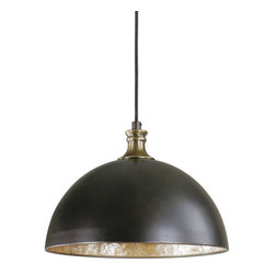 Uttermost - Uttermost 22028 Placuna 1 Light Bronze with Capiz Shell Pendant - Pacific Bronze Finish with Antique Brass Accents Lined with Warm Antiqued Capiz Shell