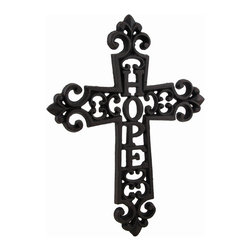 Zeckos - Cast Iron Hope Decorative Wall Mounted Cross - The message of 'Hope' is incorporated into this wonderful wall mounted cross to accent any room or door in your home. This blackened finish cast iron 9.5 inch high, 7.5 inch wide (24 x 19 cm) cross features an intricate scrolling design, and includes an attached hanger on the back making mounting to any surface easy. It's suitable for indoor or outdoor use, and makes a beautiful housewarming gift sure to be appreciated
