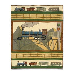 Patch Magic - Train Crib Quilt - 36 in. W x 46 in. L. Handmade, hand quilted. 100% CottonMachine washable, but for best care hand wash in cold water. Do not machine dry. Do not dry clean. Line or flat dry only.