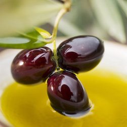 Dipping Olive Sprig with Black Olives in Olive Oil -