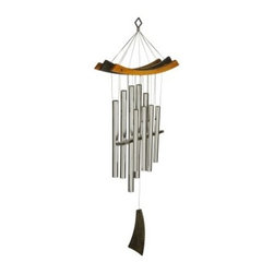 Woodstock Healing 34 Inch Wind Chime - Let the soothing tones of the Woodstock Healing Chime generate a harmonious peaceful atmosphere in your garden. Nine silver anodized-aluminum tubes give the illusion of creating more sounds than there are tubes such as a low bass tone that surprises your ears. Part of Woodstock's Natural Harmonic Overtone Series this Feng Shui chime is as beautiful as it sounds featuring black- and cherry-finished ash wood hangers and slant-edged sail.Woodstock Percussion Wind Chimes are tuned using a computerized tuning process in order to achieve incomparably beautiful sound. These wind chimes also use a unique tuning system known as just intonation. The frequencies at which the different tubes vibrate are integrally related thus producing the purest musical intervals. Once you hear the beautiful tones created by these magical chimes you'll understand why they're so popular around the world.Wind Chime Length: The length of a wind chime is measured by the overall length of the chime (not tube length) hanging hook to the end of the sail. This wind chime is 34 inches long overall.About Woodstock ChimesCreated by professional musician Garry Kvistad Woodstock Chimes feature original and innovative designs that will add beauty and elegance to your home. Each chime has been tuned to create the purest most beautiful musical intervals. Kvistad incorporates tunings of scales from many different cultures throughout the world to create unique inspiring sounds and styles. It's easy to find the chime that's right for you at Woodstock home of the original precision-tuned wind chime.