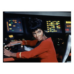 Oriental Furniture - Star Trek Lieutenant Nyota Uhura Wall Art - High quality canvas print featuring Nichelle Nichols as the original Lt. Uhura, operating her futuristic communications console on the Starship Enterprise. The authentic, authorized limited edition image is produced onto artist quality canvas using giclee style technology and stretched over a mitered wood frame. Perfect for fans of the original Star Trek series.