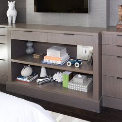 Built -In Rift Oak Dresser - In collaboration with Darci Hether, we customized this built in dresser in rift oak with gray stain and satin finish. We also customized the handles which were designed by Darci in blackened steel.